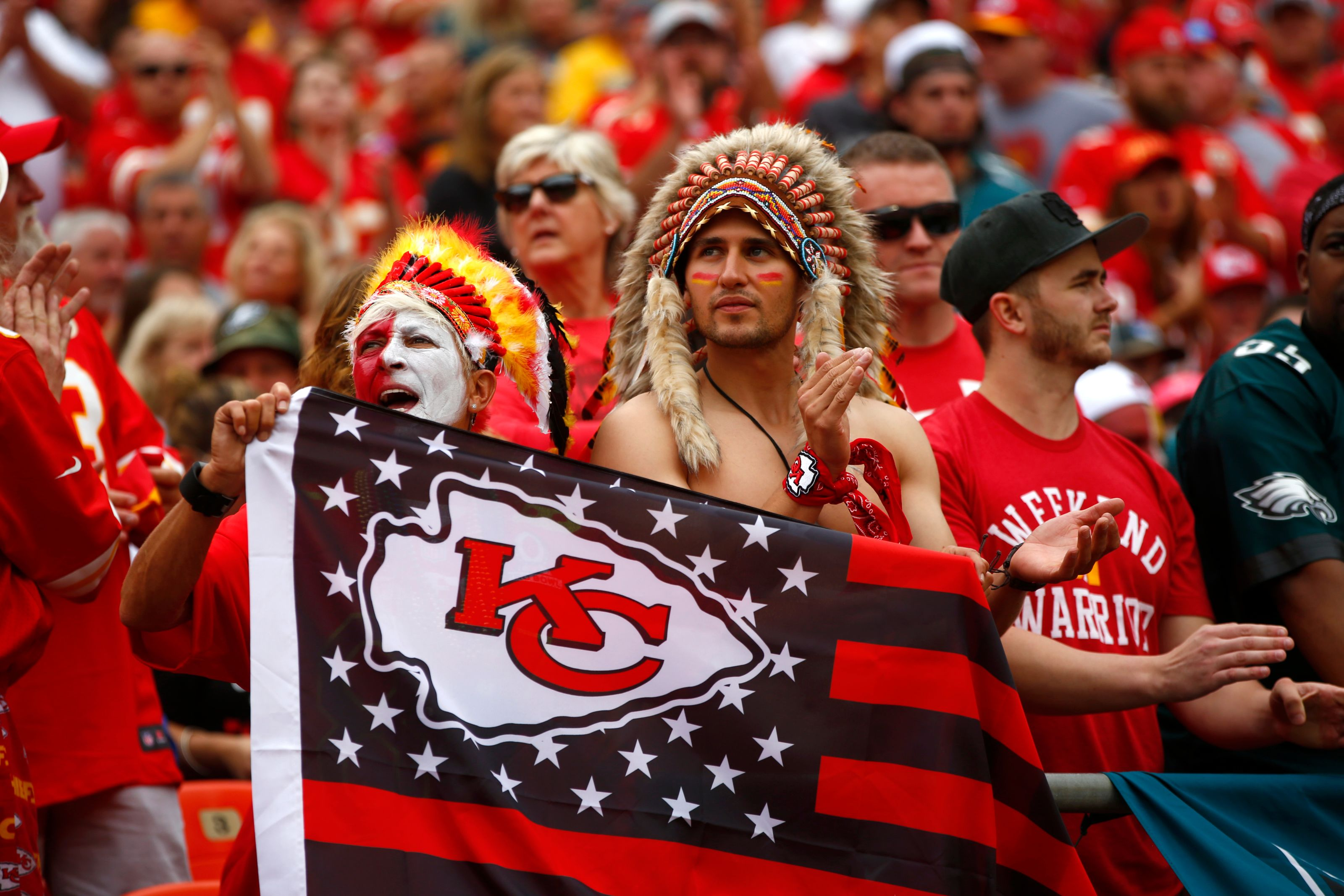 Kansas City Chiefs fans wait for the start of the game in the stands prior to the game against the Philadelphia Eagles at Arrowhead Stadium on September 17, 2017 in Kansas City, Missouri. ( Photo by Jamie Squire/Getty Images)