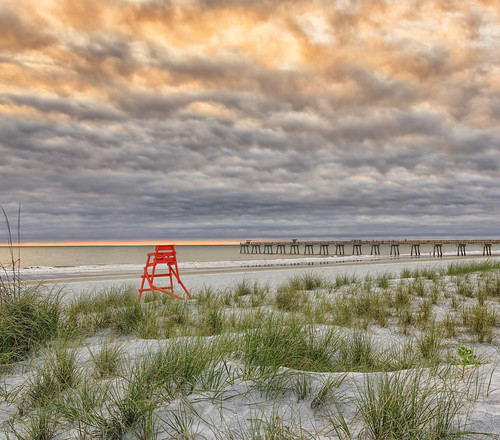 florida jacksonvillebeach sunrise clouds beach ocean seaoats fishingpier lowtide