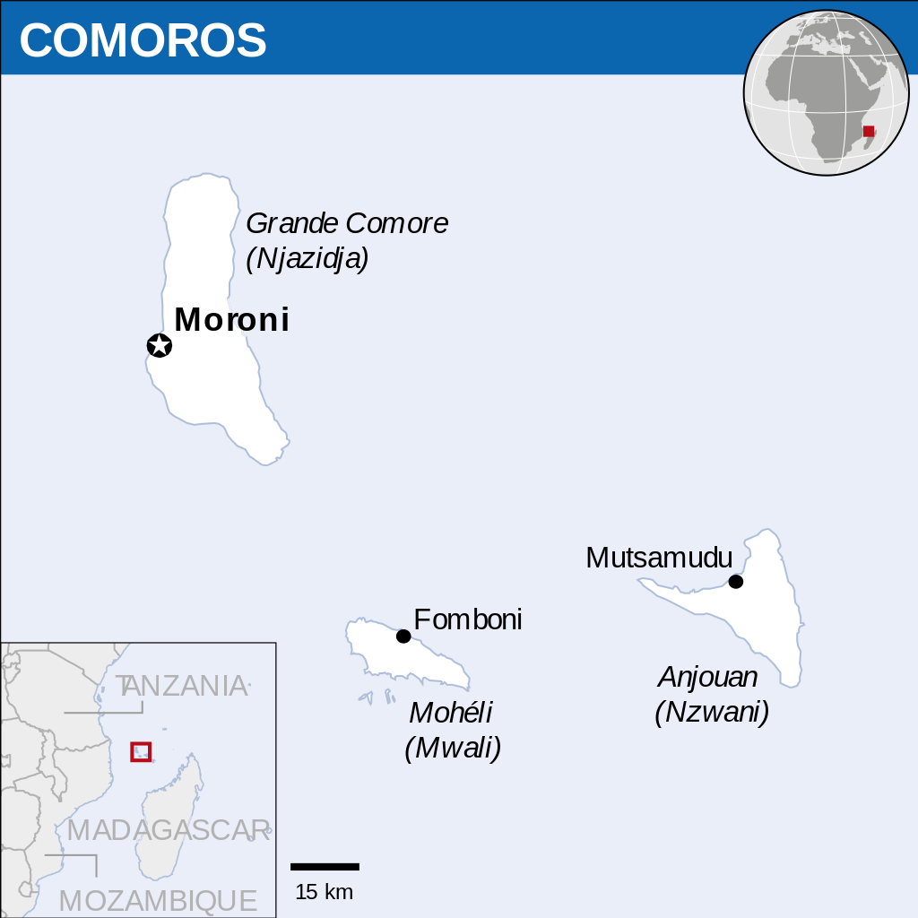 Map showing location of the Union of Comoros