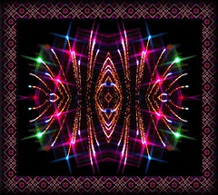 Sparkling Firework Kaleidoscope in a Tessellation Frame