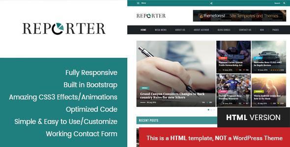 Max Reporter – HTML Magazine Template