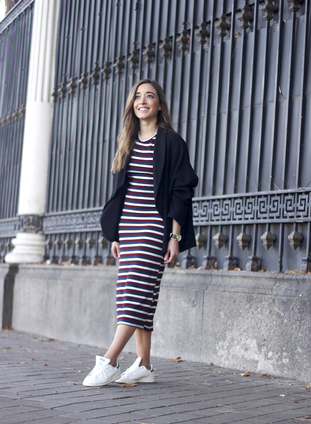 midi dress casual outfit adidas stan smith sneakers blazer street style outfit 20187818