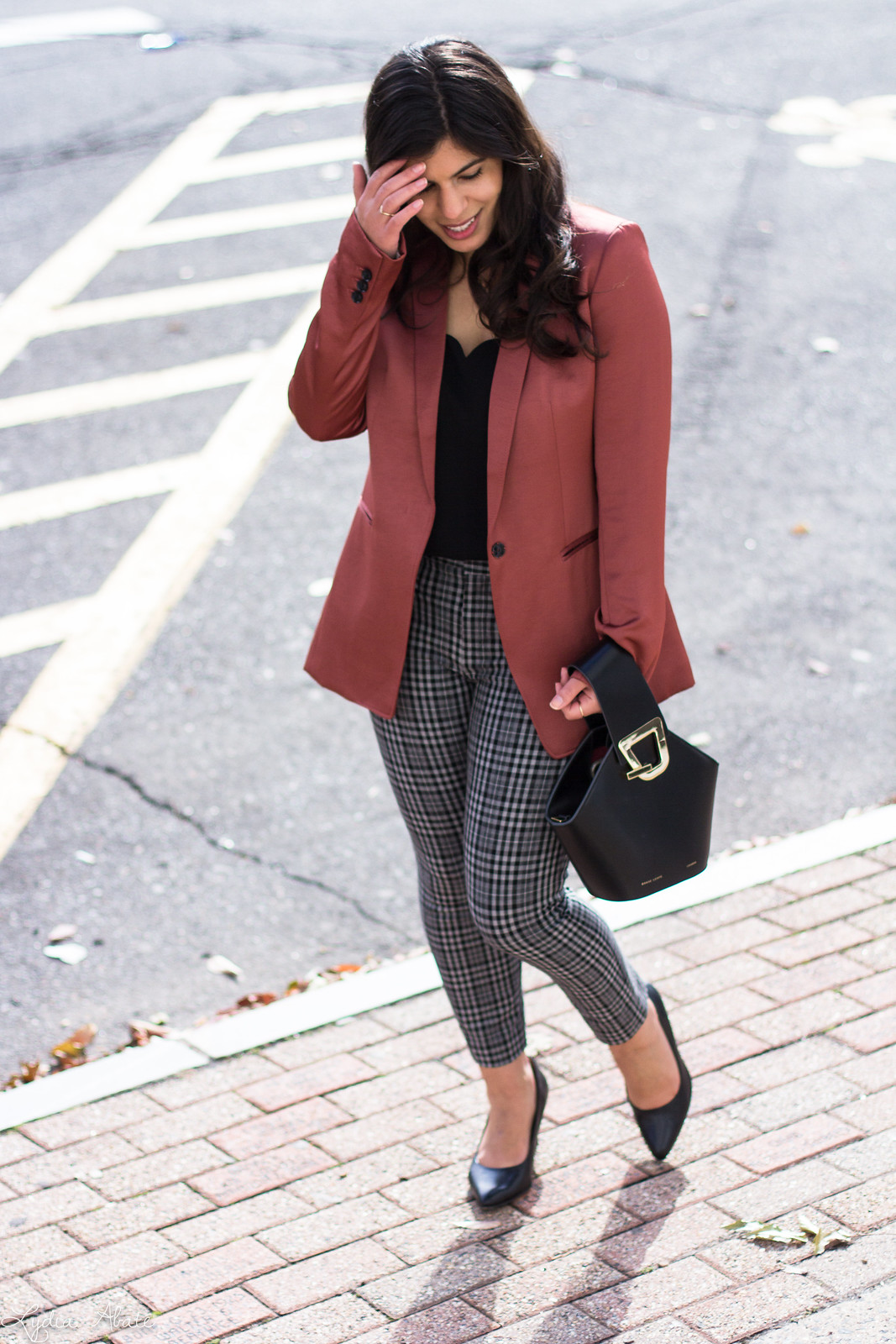 rust blazer, plaid pants, black pumps, danse lente bucket bag, scalloped cami-16.jpg
