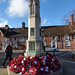 Poppy wreaths at the Solihull War Memorial at St Alphege's Church on Remembrance Sunday