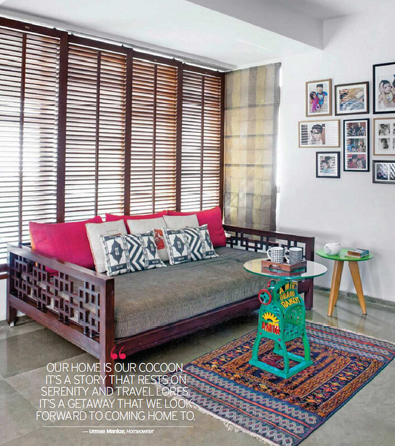 colorful living room in Rohit and Urmee's home