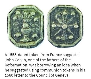 1533 French communion token with caption