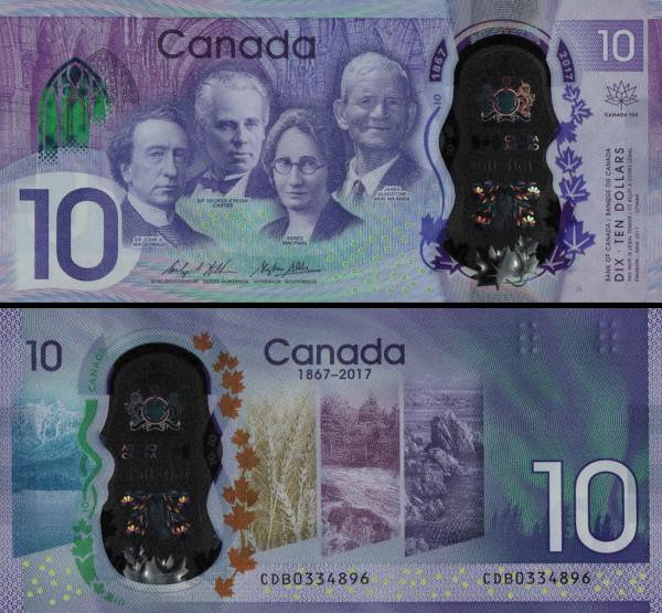 10 Dolárov Kanada 2017, polymer P112 pamätná