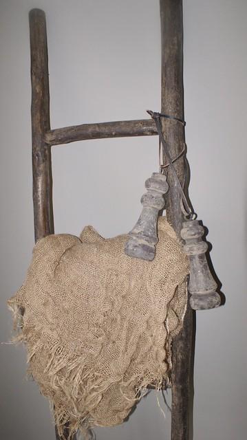 Houten ladder linnen doek klosjes