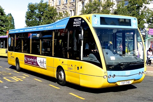 T27 TYB Yellow Buses' No. 27 'light blue 2'. Optare Versa V1110 on Dennis Basford's railsroadsrunways.blogspot.co.uk'