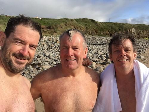 Swim by Chris & Brian. Tim Waded. Coast. Wild Atlantic Cycling Tour Day 2