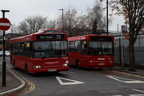 London United DP30677 on Route 72 & Metroline DP274 Meal Relief Bus, East Acton Industrial Estate
