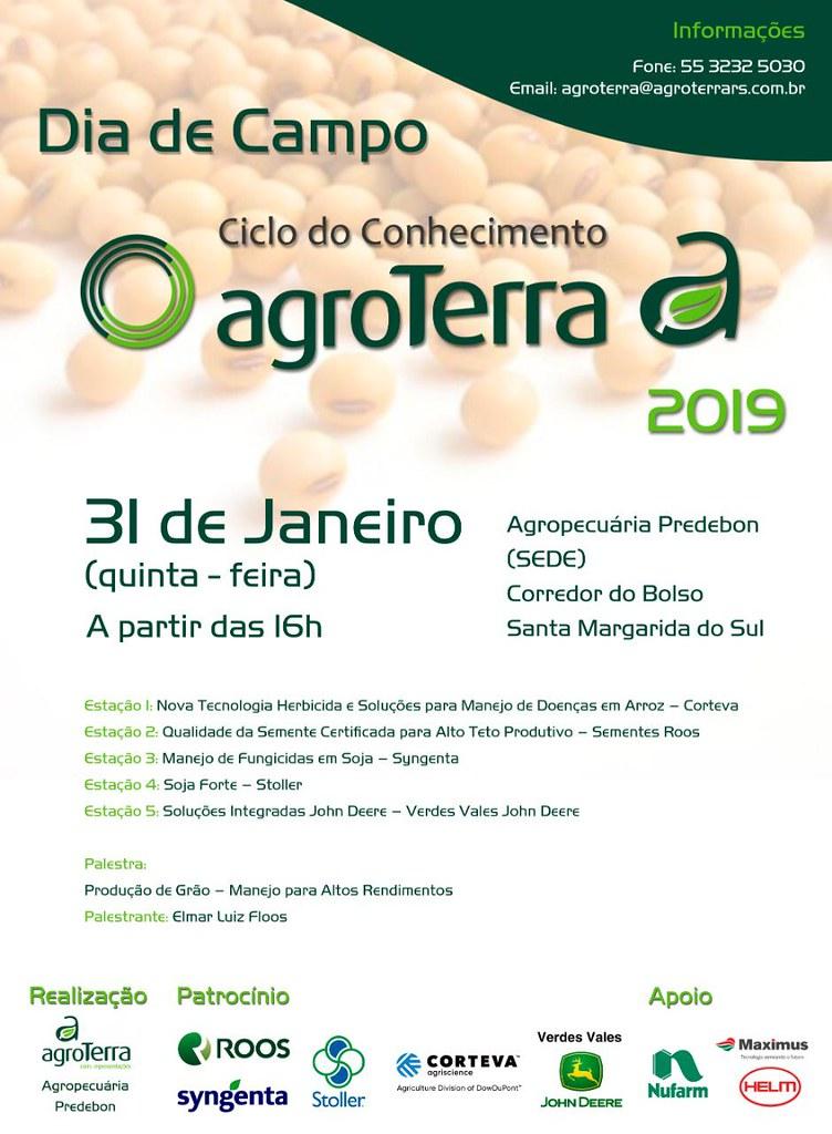 Vem aí o Dia de Campo Agroterra - 31 de janeiro, na Agropecuária Predebon em Santa Margarida do Sul