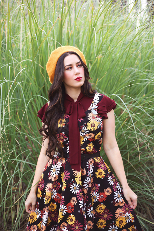 Modern Millie Mod Floral Dress Ruffle Sleeve Tie Neck Top in Burgundy