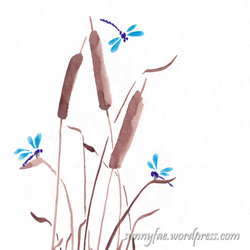 bulrushes & dragonflies
