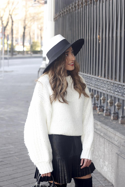black pleated skirt  white sweater louis vuitton bag street style inspiration 201910