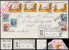 Nova Scotia Postal History / Registered POCON Cover - 19 October 1984 - 040290 BEAR RIVER (Digby County), N.S. (POCON cancel / postmark) to Bridgewater (Lunenburg County), Nova Scotia
