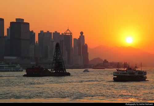 Sunset seen from Tsim Sha Tsui Promenade, Hong Kong, China