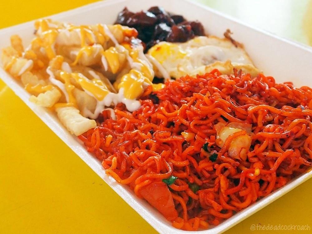 adam road food centre, food, food review, ibrahim mee stall, maggi goreng, maggi goreng special, review, singapore, singapore botanic garden, cheese fries,mutton steak,fried egg,halal,halal food,malay,malay food,muslim food,muslim