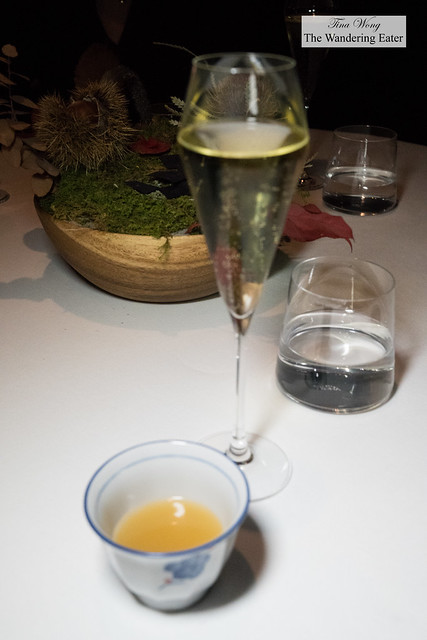 Contadi Castaldi x Bu:r Eugenio Boer 'Soulsaten' Franciacorta 2012 and chicken and white ginseng consommé