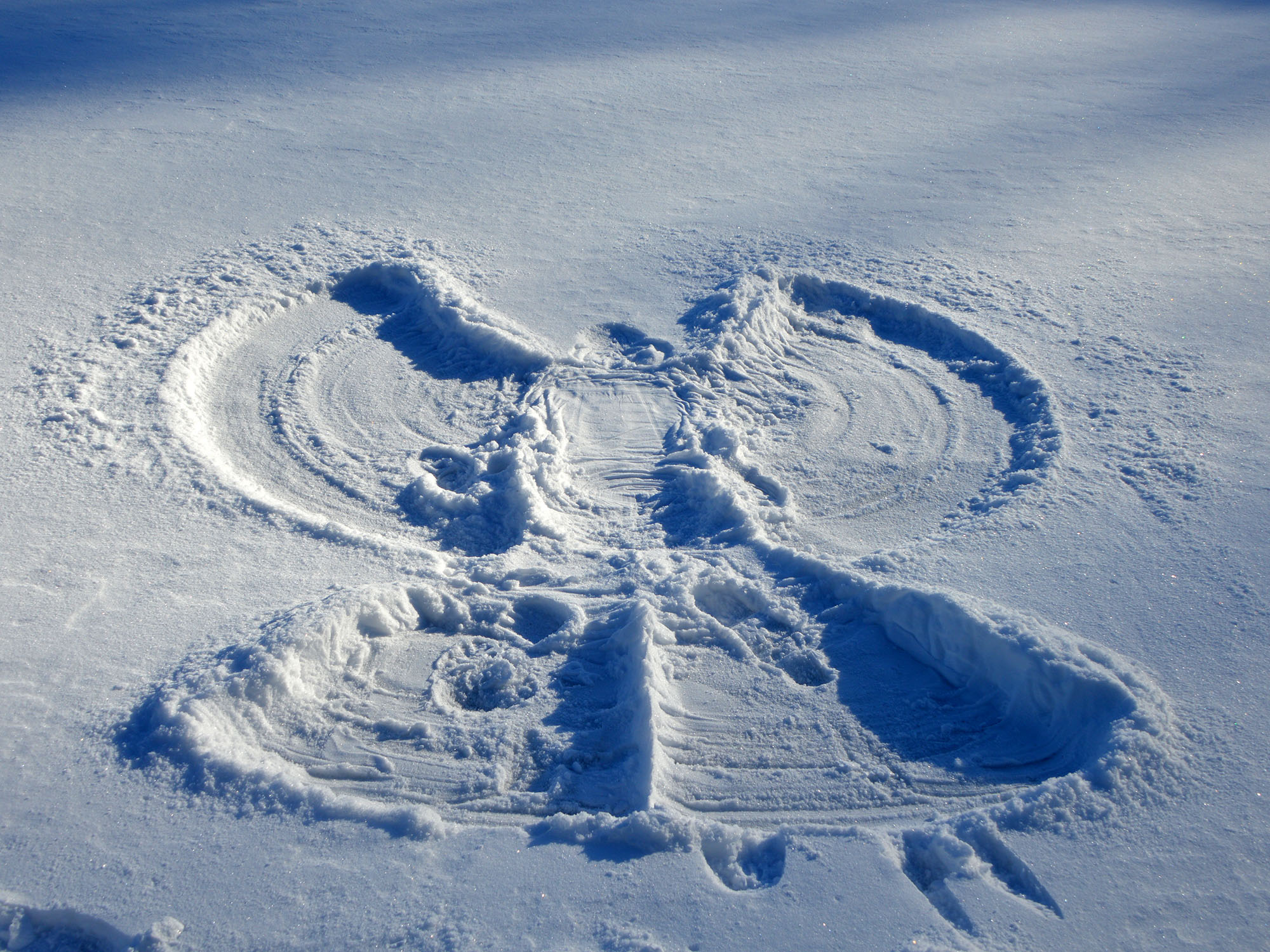 Snow angel photographed on February 29, 2016.