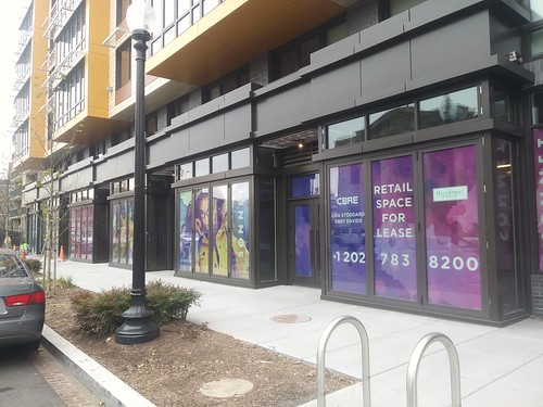 New retail space at the Sonnet mixed use building on the 1400 block north side of U Street NW, Washington, DC