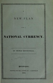 Mendenhall An Entire New Plan for a National Currency cover