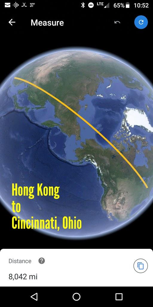 Hong Kong to Cincinnati, Ohio