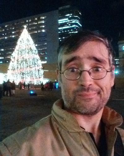 Selfie by tree #toronto #torontocityhall #nathanphilipssquare #night #christmas #christmaseve #christmastree #me #selfie #latergram