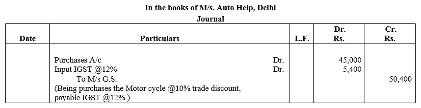 TS Grewal Accountancy Class 11 Solutions Chapter 5 Journal Q20.1