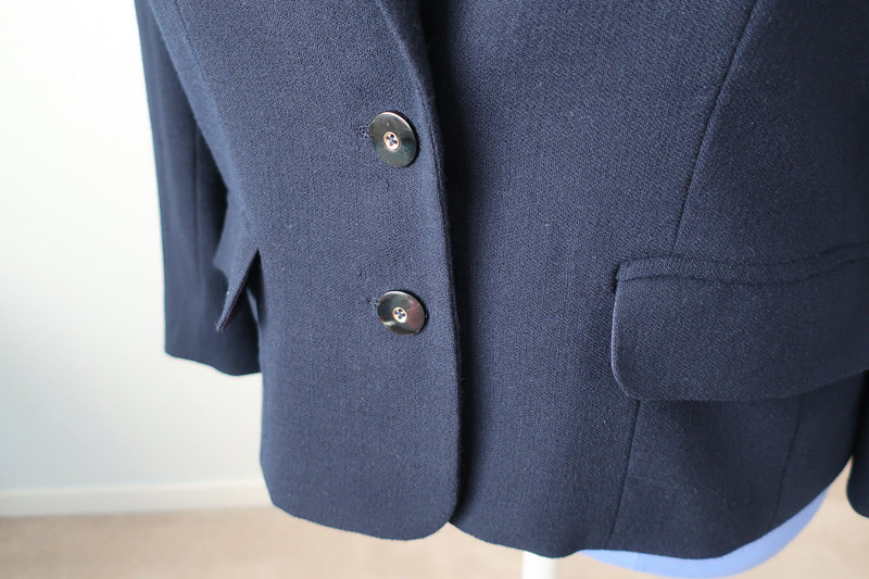 Navy blazer pockets