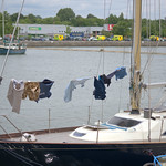 Washing clothes at Preston Docks