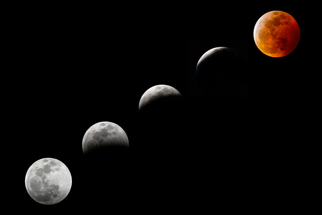 Sequence of the Super Blood Wolf Moon and Total Lunar Eclipse on January 20-21, 2019, near Punta Gorda, Florida
