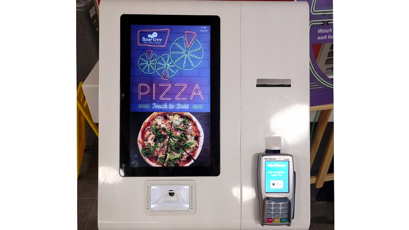 Pizza ordering kiosk in lime tree