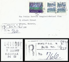 Nova Scotia Postal History / Registered Letter - 7 December 1977 - 041491 HALIFAX, N.S. SUB No. 10 Post Office (POCON cancel / postmark) to Ottawa, Ontario