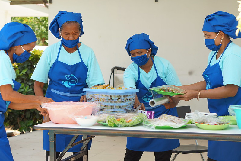 WorldFish-supported women's group showcasing their cooking and products at the Women Fishers' Forum in Timor-Leste. Photo by WorldFish.