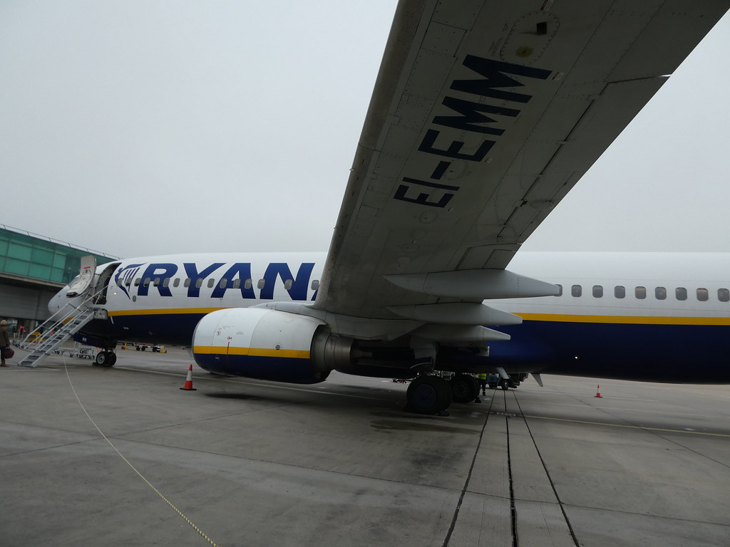 Waiting to board our Ryanair flight from Stansted to Budapest
