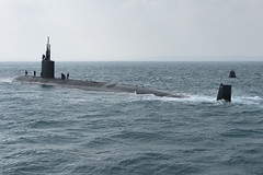 A Los Angeles-class fast attack submarine transits to sea for exercise Keen Sword off Japan. (U.S. Navy/ETC Robert Gulini)