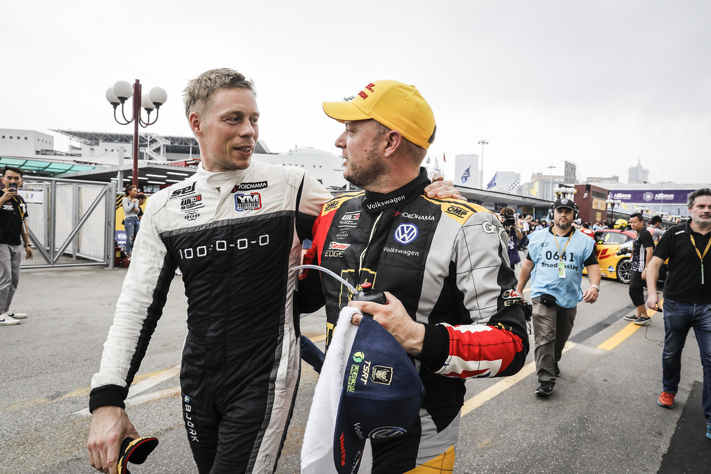 BJORK Thed, (swe), Hyundai i30 N TCR team Yvan Muller Racing, portrait HUFF Rob, (gbr), Volkswagen Golf GTI TCR team Sebastien Loeb Racing, portrait during the 2018 FIA WTCR World Touring Car cup of Macau, Circuito da Guia, from november  15 to 18 - Photo Francois Flamand / DPPI