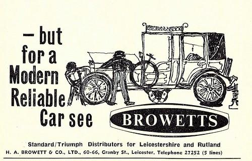 1963 ADVERT - BROWETTS STANDARD / TRIUMPH DEALERS GRANBY STREET LEICESTER