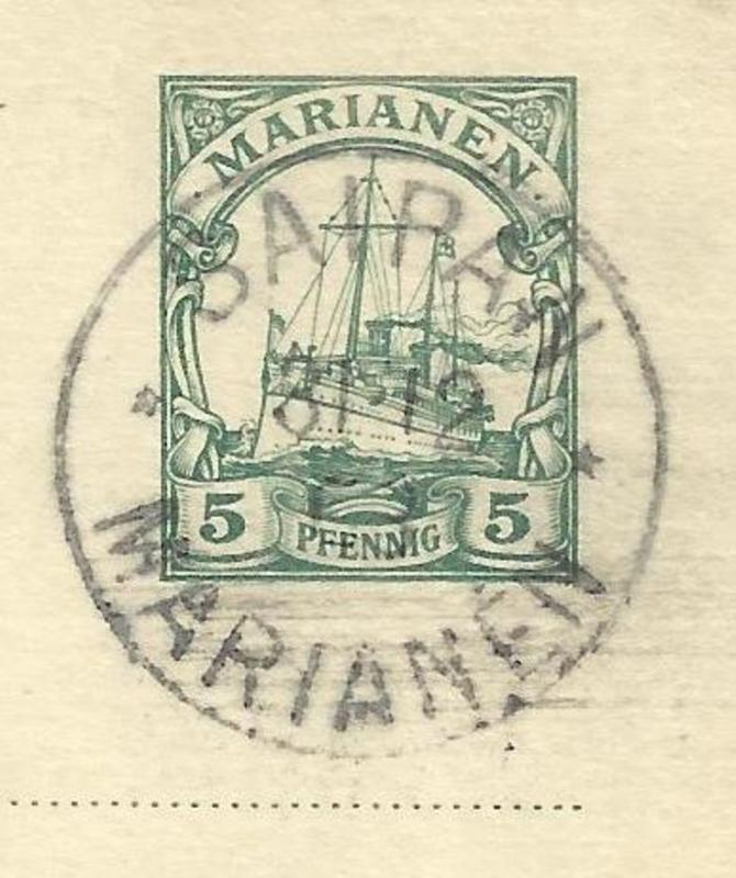 Stamp indicia digitally cropped from German Mariana Islands postal card (HP #12) with Saipan postmark dated December 31, 1903.