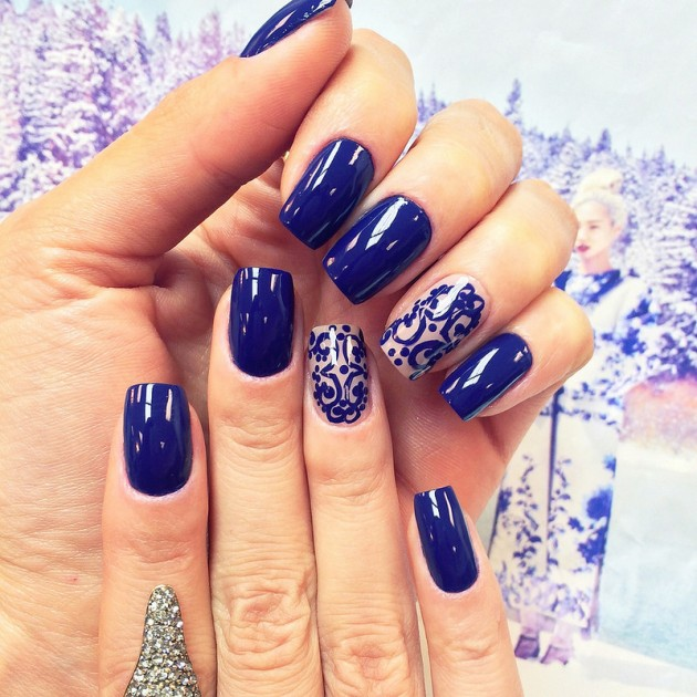 Winter Royal Blue Nail Designs
