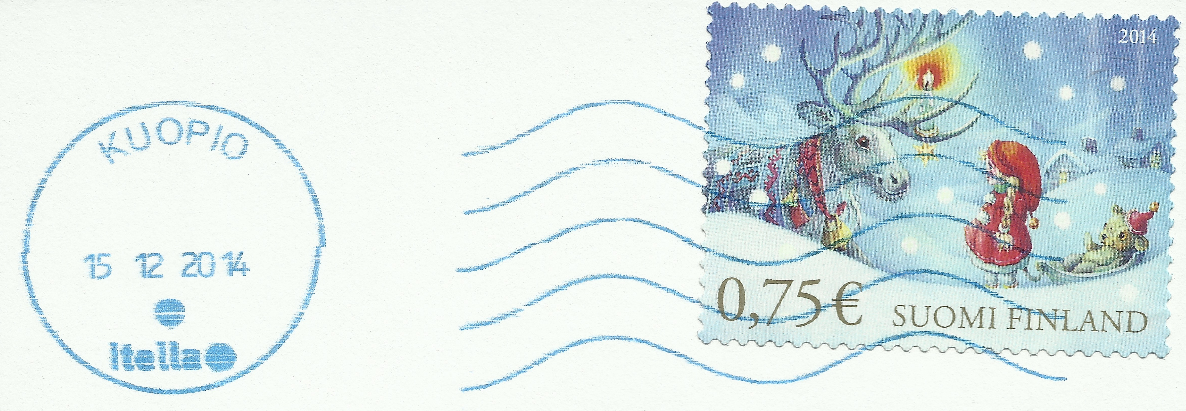 Finland - Scott #1479 (2014) with blue cancellation from Kuopio, the cultural center of Eastern Finland