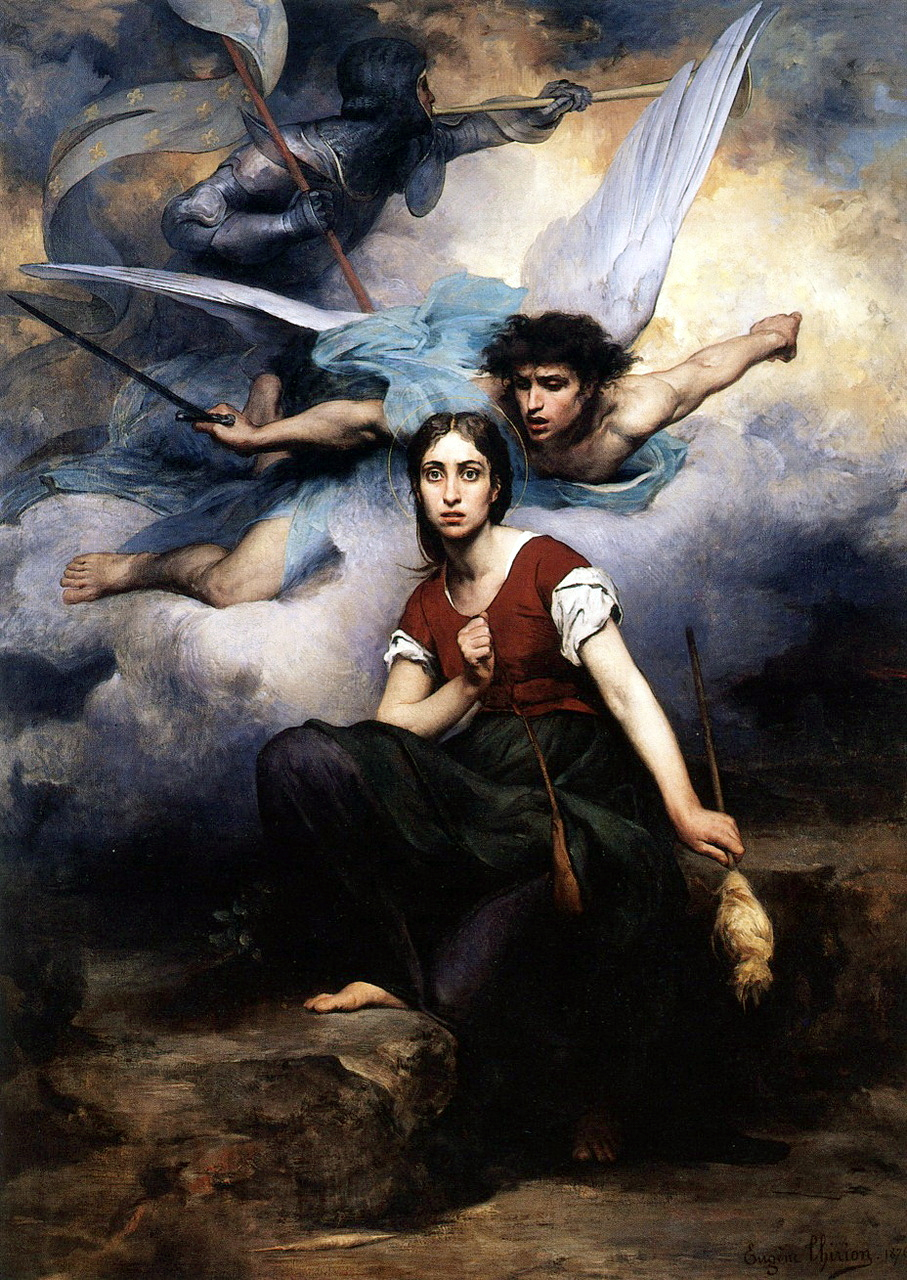 Joan of Arc listening to the voices (Jeanne d'Arc écoutant les voix), by Eugène Thirion depicts Joan of Arc's awe upon receiving a vision from the Archangel Michael.. Late 19th century images such as this often had political undertones because of French territorial cessions to Germany in 1871. Oil on canvas, 1876. At the Church of Notre-Dame, Ville de Chatou, France.