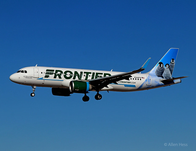 "Frontier Airlines, Airbus A320 ""Ed, Edwin and Eddie the Penguins"".....2019-0101-086"