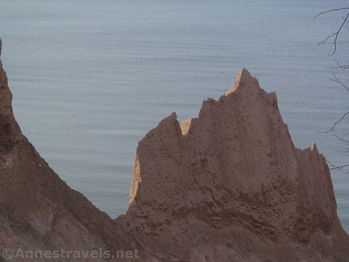 The shadowed side of one of the Chimney Bluffs, New York