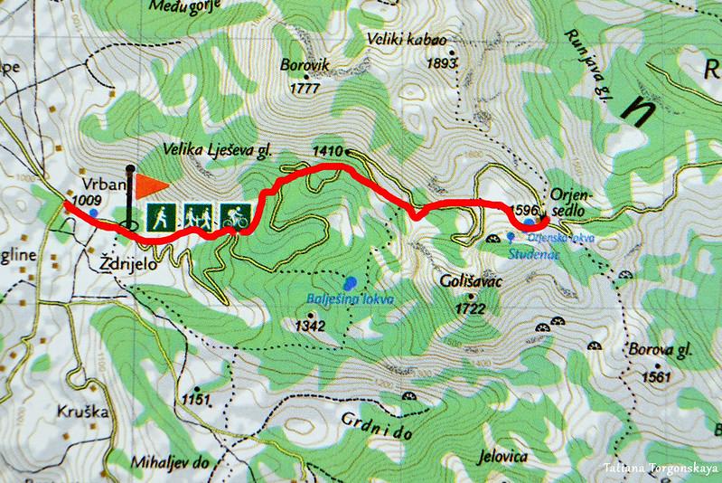 """Карта с маршрутом """"Врбань - Орьенское седло"""""""