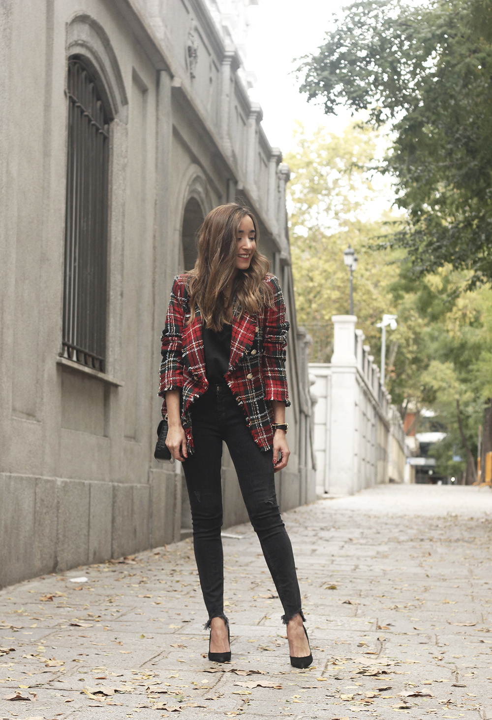 Tartan blazer black outfit heels givenchy bag street style fall outfit 20183883