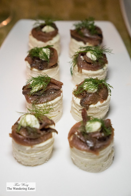 Anchovies with butter and bread