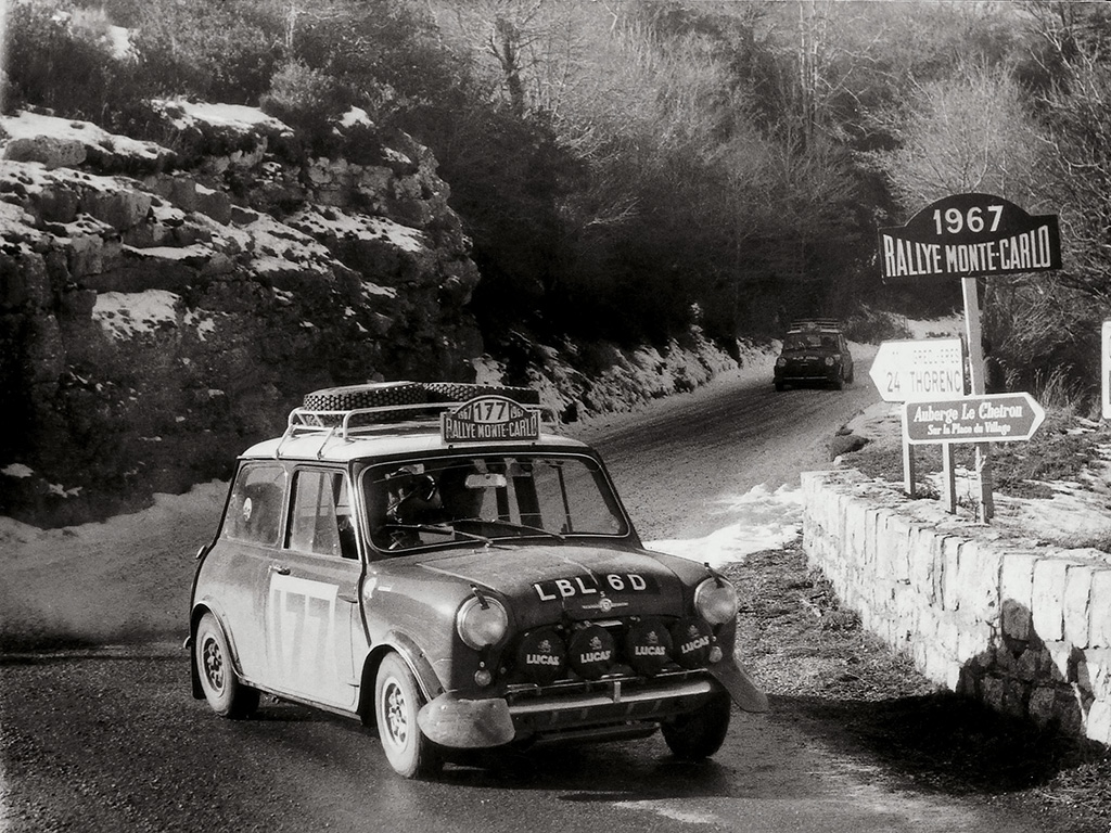 A Morris-Mini Cooper S during the 1964 Monte Carlo Rally.