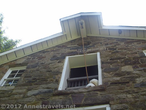 The hoist from outside. This was used to carry sacks of grain up to the third floor. Cooper Mill, Chester, New Jersey
